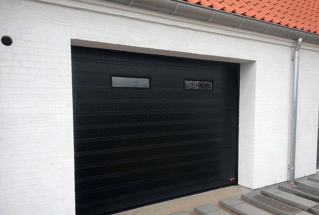NASSAU black garage door with 2 windows