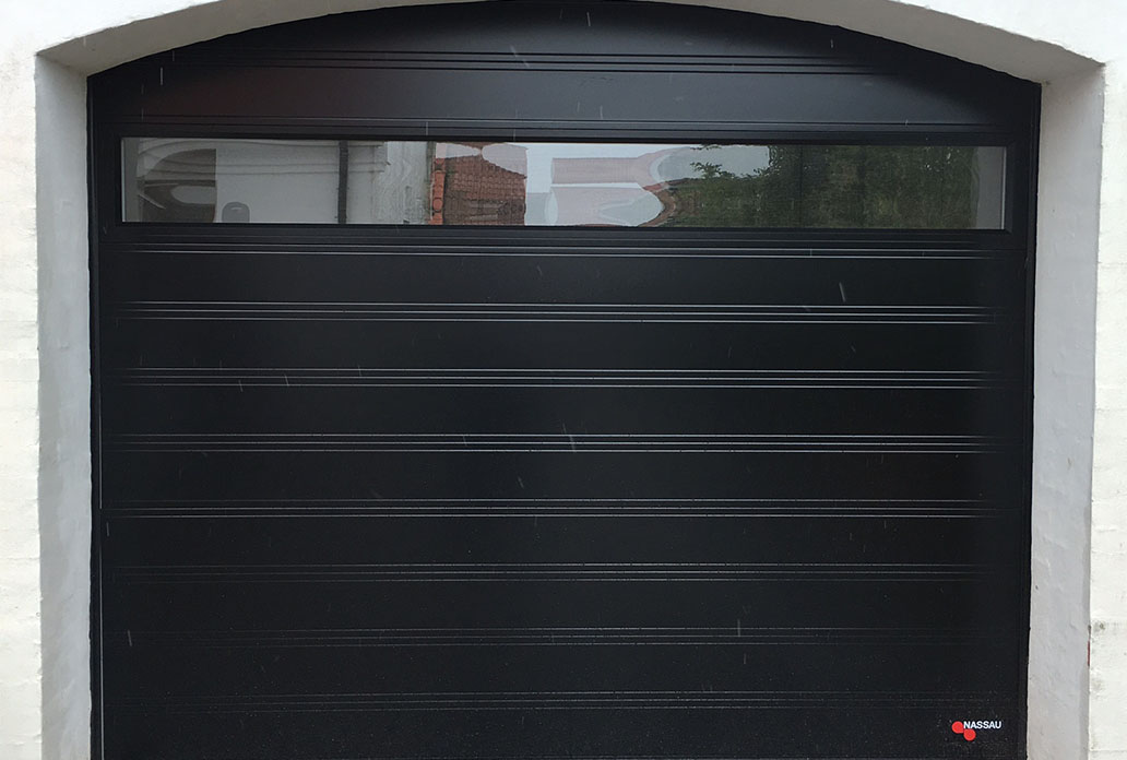 NASSAU black garage door with one wide window