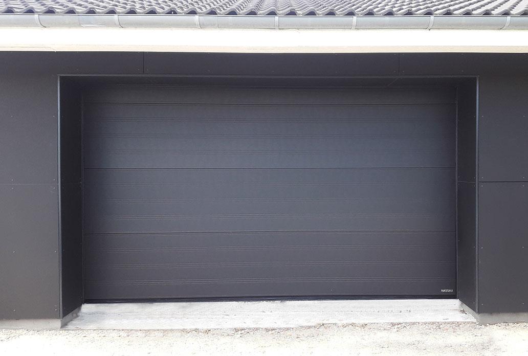 softline garage door in black with no windows or doors