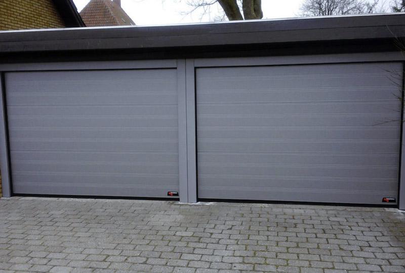 NASSAU grey garage door with steel frames