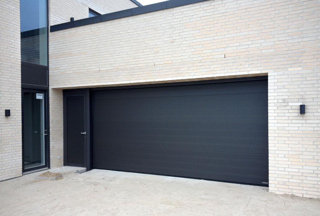 NASSAU black granite garage door with normal door