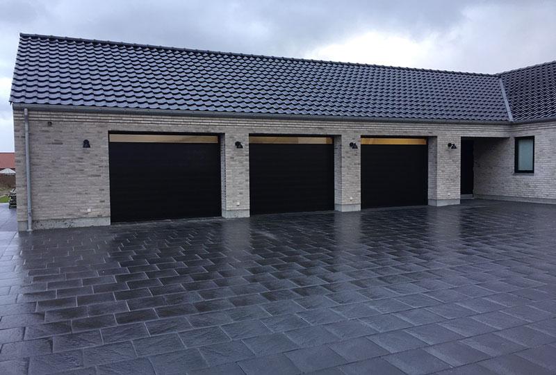 Nassau classic garage doors with wide windows top