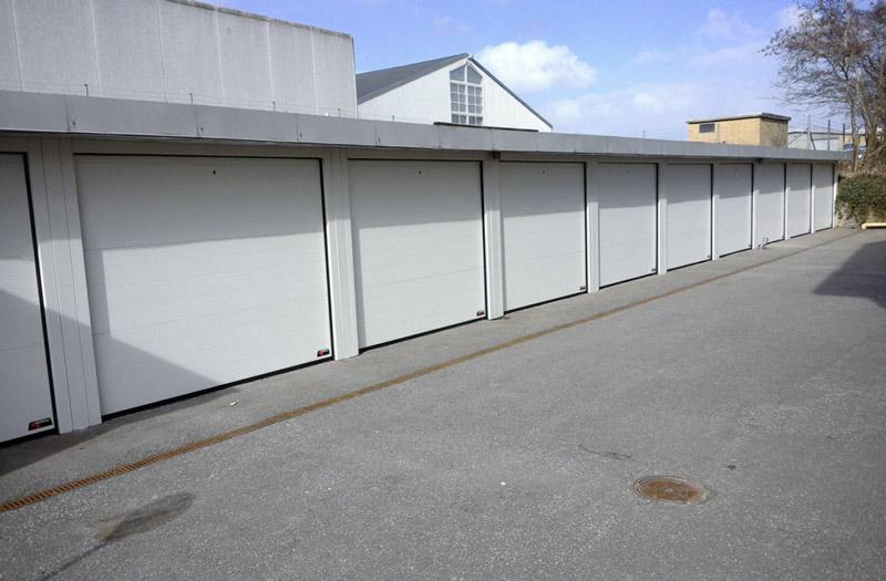 NASSAU multiple white steel frame garage doors example