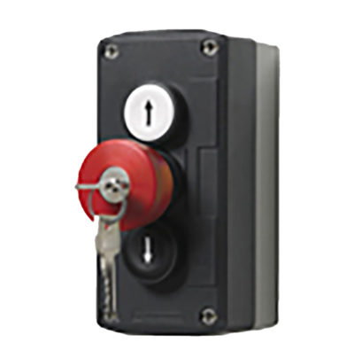 3-button push button box with key