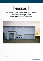 Installation brochure for a garage door with a width up to 3500mm